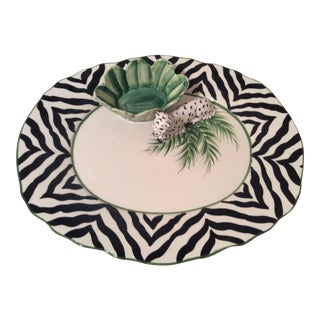 Italian White Leopard Chip & Dip Platter by the Mane Lion For Sale