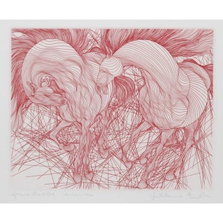 Guillaume Azoulay, Encounter (Red), Etching For Sale