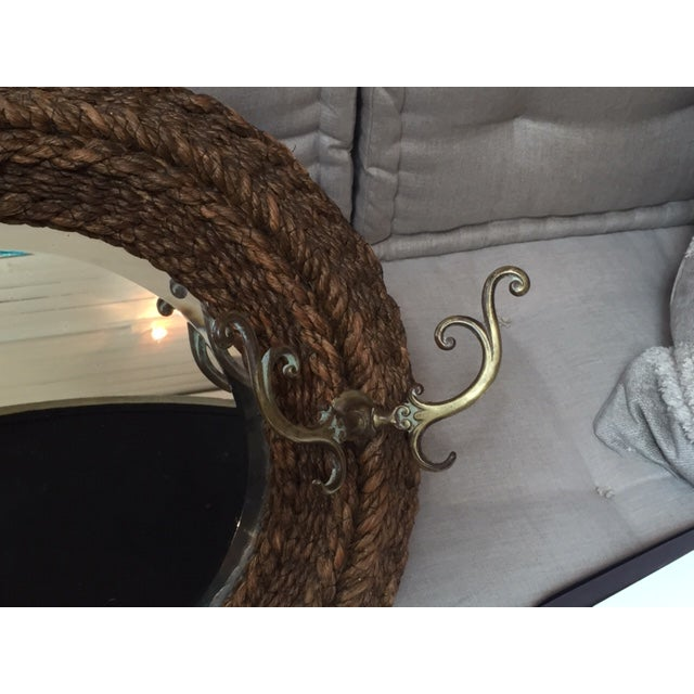 1920s Rustic Rope and Brass Mirror With Hooks For Sale - Image 4 of 5