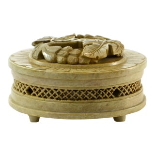Artisan Carved Soapstone Box For Sale
