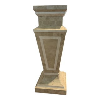 Tessellated Stone Column Pedestal by Marquis Collection of Beverly Hills For Sale