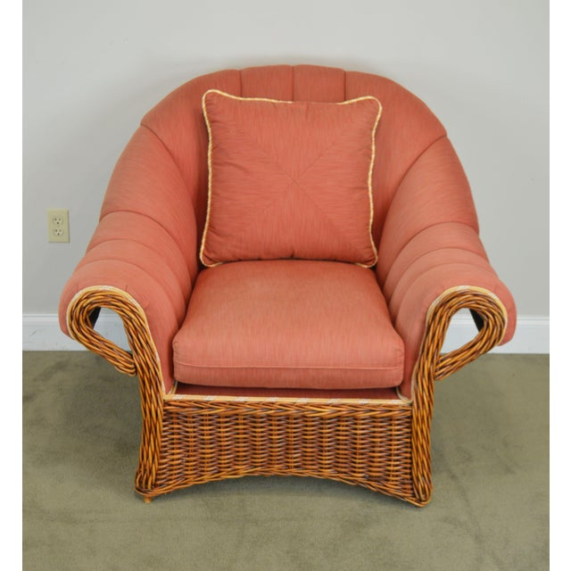 Pierce Martin Quality Pair Rolled Arm Wicker Lounge Chairs For Sale - Image 4 of 13