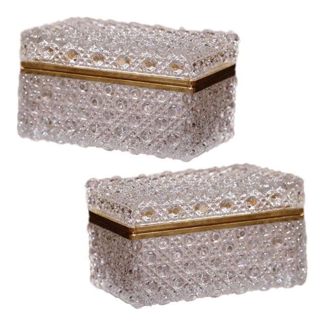 Pair of Early 20th Century French Baccarat Cut Glass and Brass Jewelry Boxes For Sale