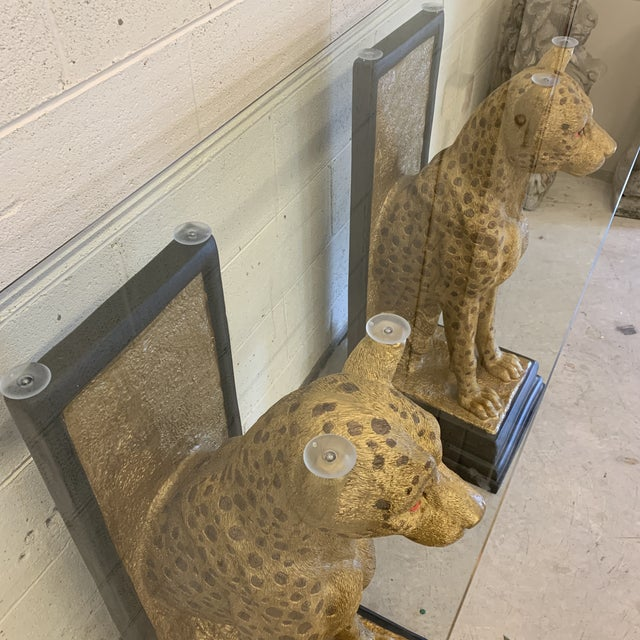 1980s Cheetah Console Table With Glass Top For Sale - Image 5 of 12