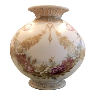 1930s Hand Painted French Porcelain Vase For Sale