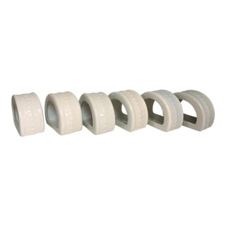 White Porcelain Napkin Rings - Set of 6 For Sale