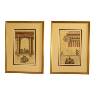 Framed & Matted Architectural Prints - A Pair