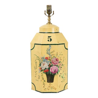 English Export Hexagonal Tole Tea Caddy Lamp No.5 Handpainted in Yellow For Sale