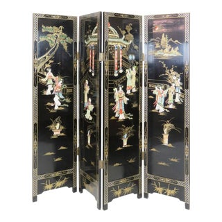 Asian Style Ebonized Chinoiserie Four-Panel Screen For Sale