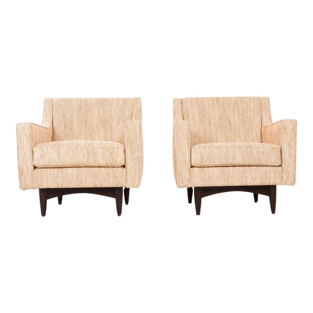 Lounges from Italy, solid tapered legs with connecting arched braces with sloped arms. Reupholstered with woven wool fabric.
