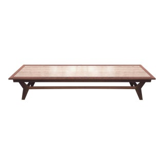 "Mid Century Modern 72"" Long Centerpiece MCM Coffee Table With Faux Marble Top and Slant Legs For Sale"