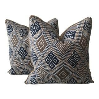Geometric Linen Fabric Pillows - A Pair