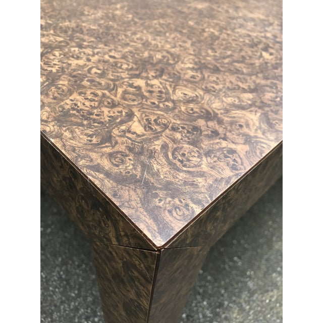 Vintage Burl Wood Laminate Parsons Style Dining Table For Sale - Image 5 of 10