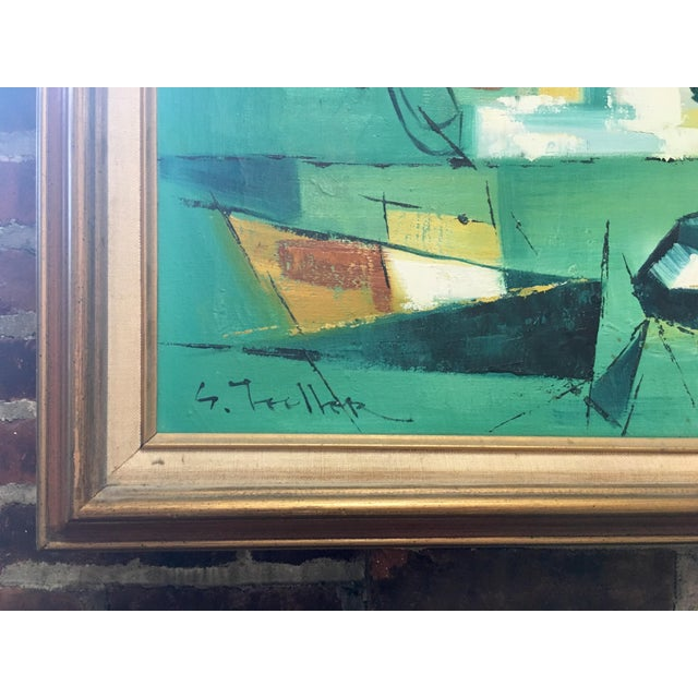 Mid Century Modern Abstract Fishing Scene Painting - Image 2 of 4