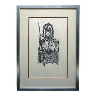 Midcentury Tribal Framed Woodblock Print For Sale