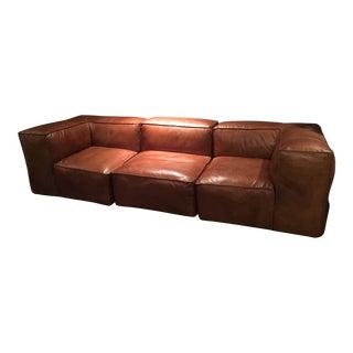Restoration Hardware Brown Leather Fulham Sofa