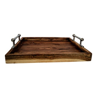 Rustic Wooden Tray With Chrome Handles For Sale