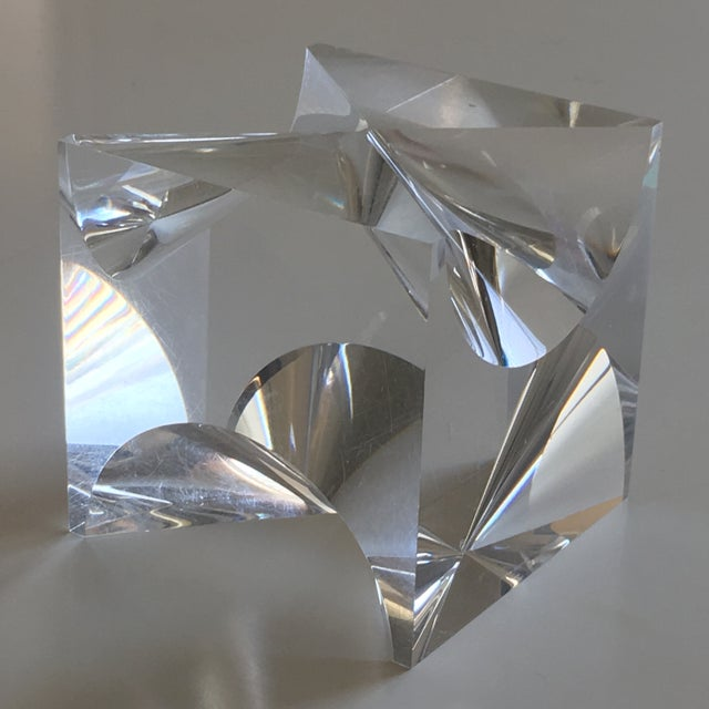 1960s Mid-Century Modern Alessio Tasca Lucite Cube Sculpture For Sale - Image 11 of 11
