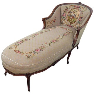 Louis XV Style Needlepoint Chaise Lounge Chair