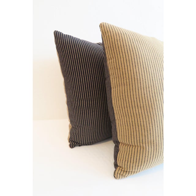 Custom Navy & Tan Stripe Pillows - A Pair - Image 4 of 5