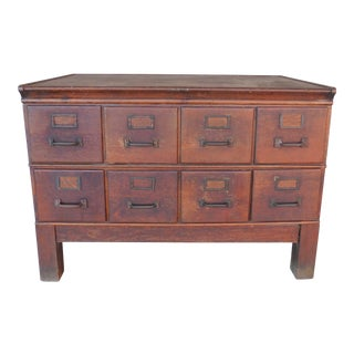"Antique Oak Filing Card Storage Cabinet 44""w X 31""h For Sale"