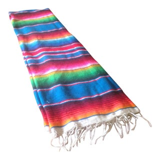 "Vintage Bright Striped Boho Blanket Throw - 78"" x 41"" For Sale"