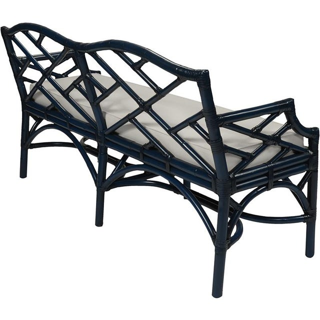 Chippendale Chippendale Bench - Navy Blue For Sale - Image 3 of 6