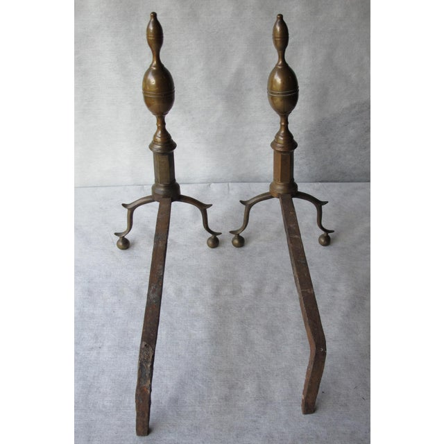 Brass & Iron Lemon Top Andirons - A Pair - Image 9 of 11