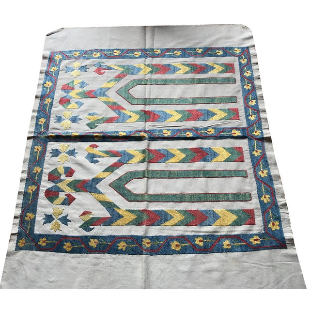 Primitive Antique Suzani Silk Tablecloth For Sale - Image 3 of 5