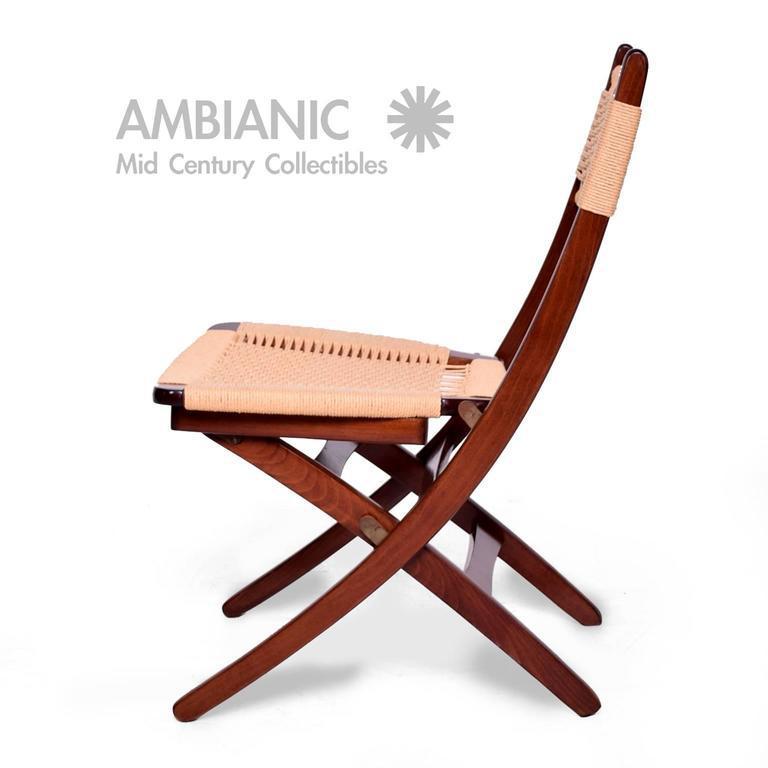 Modern Folding Chair #33 - Mid-Century Danish Modern Rope Folding Chair - Image 3 Of 9