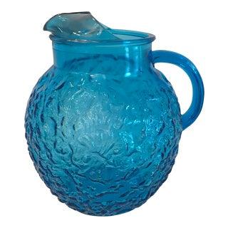 Mid Century Blue Textured Round Glass Pitcher