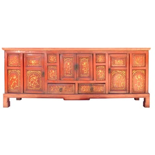Rustic Chinese Red & Gold Flower Cabinet For Sale