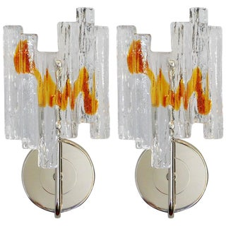 1960s Italian Salviati Geometric Amber and Silver Murano Glass Sconces - a Pair