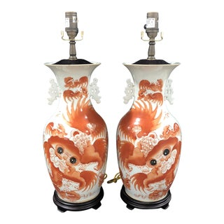 1970s Vintage Chinese Iron Porcelain Urn Table Lamps - A Pair For Sale
