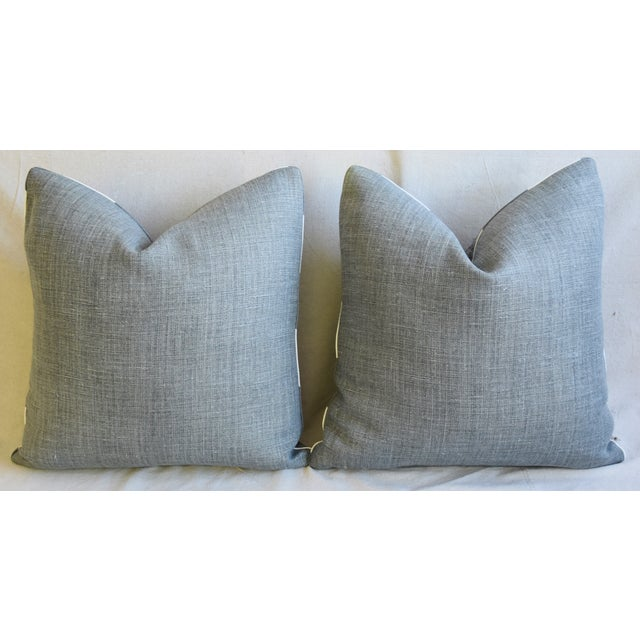 "Peacock Feather Linen Feather/Down Pillows 21"" Square - Pair For Sale - Image 10 of 13"