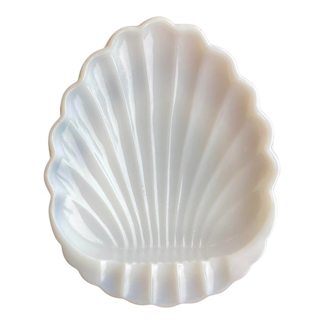 Vintage Milk Glass Sea Shell Ashtray Catchall For Sale