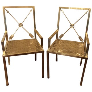 Glimmering Show Stealer Heavy Brass Neoclassical Armchairs by Mastercraft For Sale