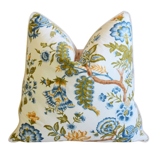 "Clarence House Clarence House Botanical Floral Tree of Life Fabric Feather/Down Pillow 22"" Square For Sale - Image 4 of 6"