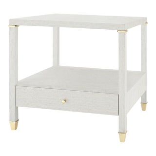 Bungalow 5 Pascal 1-Drawer Side Table, Silver Lacquered Silky Grasscloth For Sale