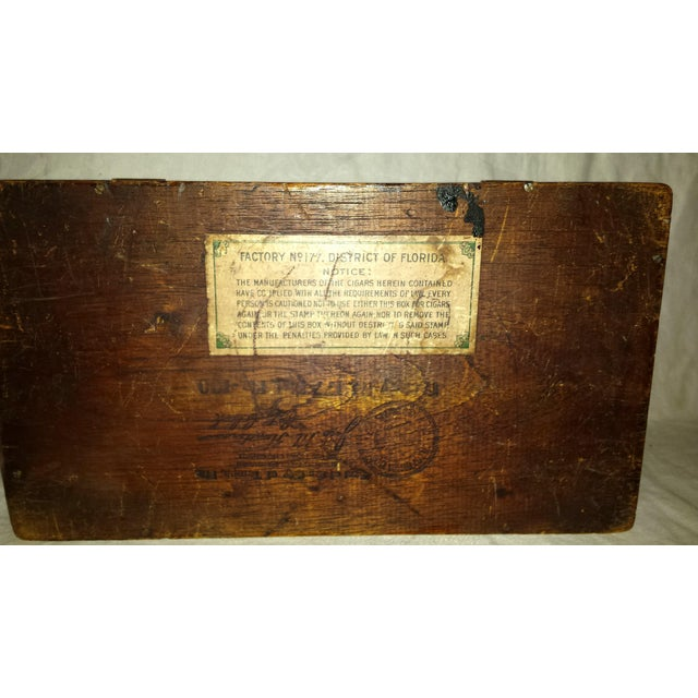 Antique Dove Tailed Wooden Cigar Humidor Box - Image 11 of 11