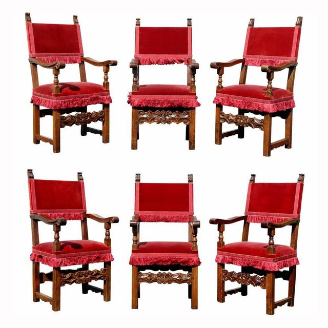 Assembled Set of Six Italian Baroque Walnut Dining Chairs For Sale - Image 12 of 12