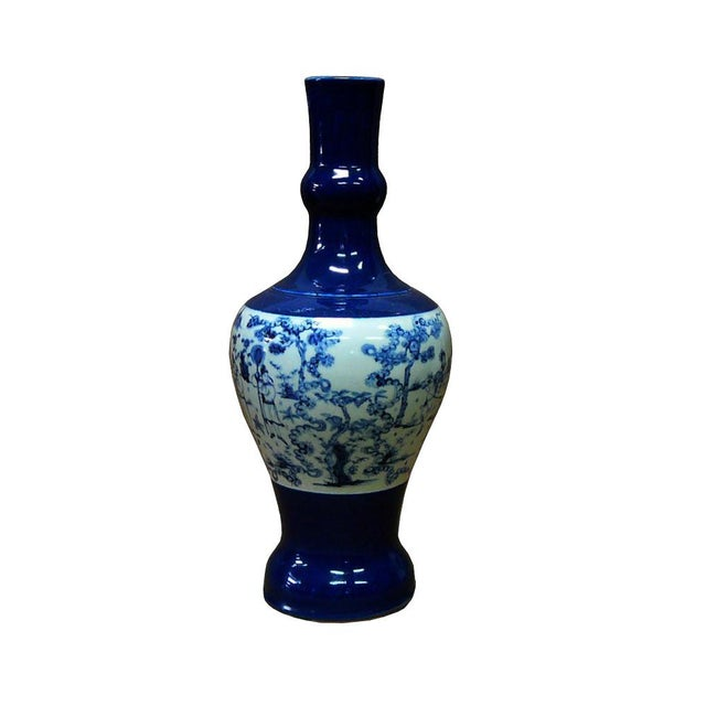 Chinese Porcelain Scenery Painted Blue Vase For Sale In San Francisco - Image 6 of 6