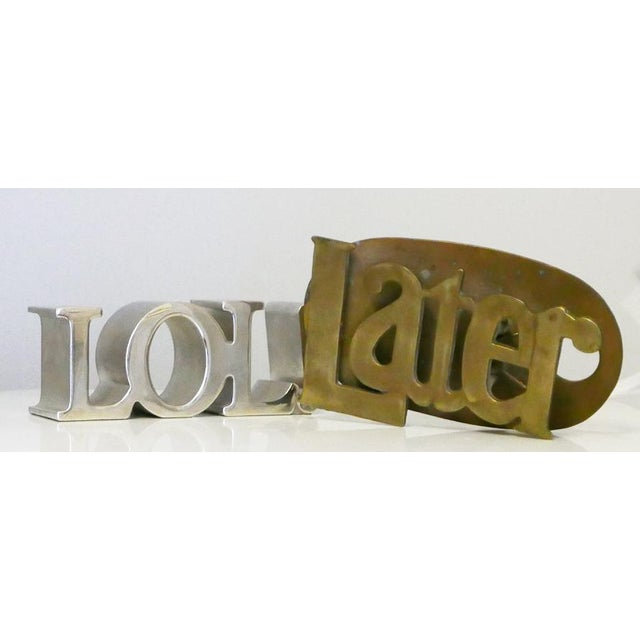 """Brass """"Later"""" Desk Accessory For Sale - Image 4 of 5"""