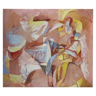 """Mother and Child"" Large Abstract Oil Painting, Circa 1970 For Sale"