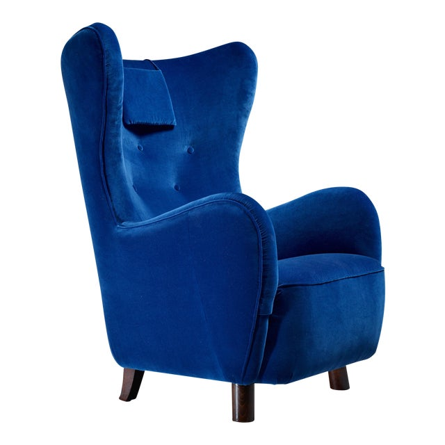 Mogens Lassen Attributed Wingback Lounge Chair, Denmark, 1940s For Sale