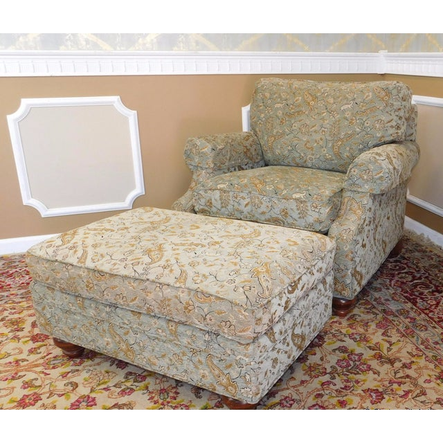 Ethan Allen Upholstered Armchair & Ottoman - Image 8 of 8