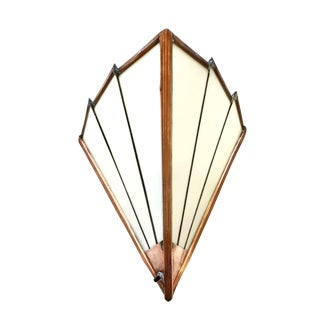 1930s French Art Deco Opaque Glass and Copper Wall Sconce