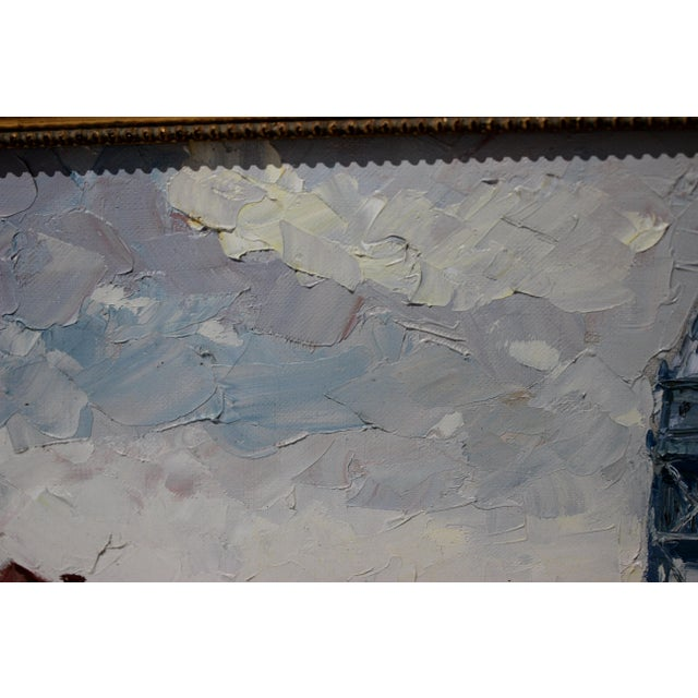 1970s Vintage Oil Painting Buzzards Bay Cape Cod Palette Knife Technique For Sale - Image 5 of 12
