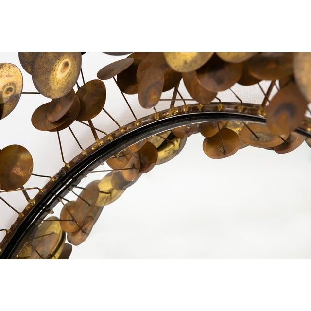 """raindrops"" wall sculpture mirror designed by Curtis Jere for Artisan House USA, c 1970 brass + mirrored glass 28 ⅞"" h x..."