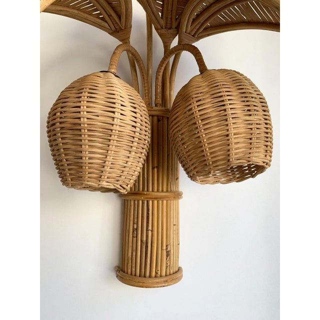 Hollywood Regency 1980s Rattan Palm Tree Sconces, France - a Pair For Sale - Image 3 of 13